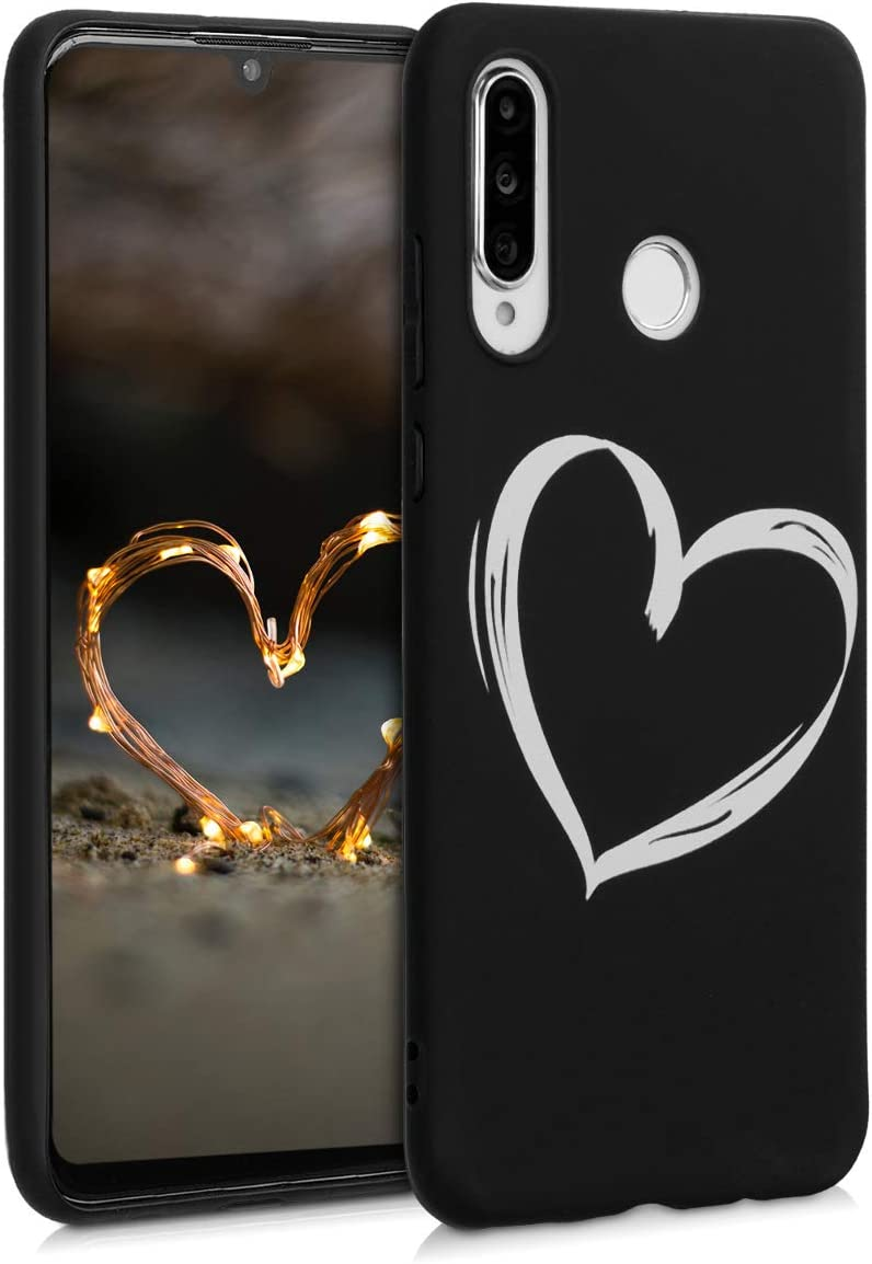 kwmobile Funda Compatible con Huawei P30 Lite - Carcasa de TPU Dibujo de corazón en Blanco/Negro