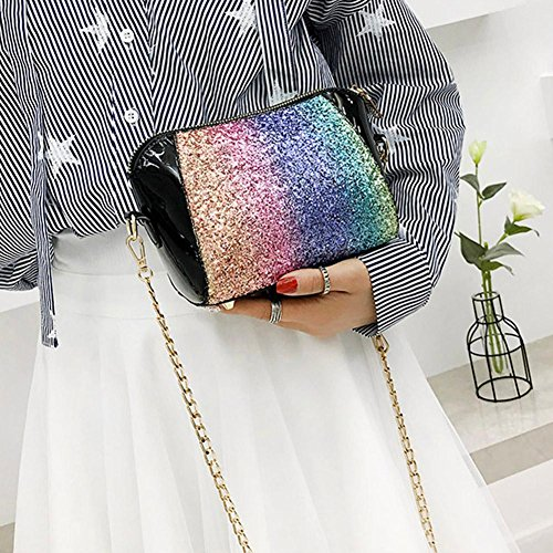 Party Everpert Bags Black Sequins Leather Casual Chain Shoulder Shell Women Crossbody qfI6pxInOw