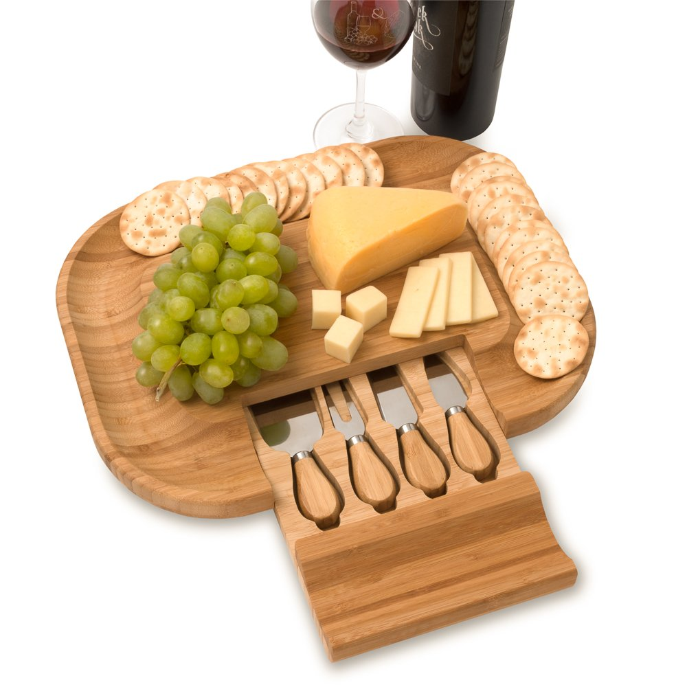 Mr. C's Cucina Bamboo Cheese and Charcuterie Meat Cutting Board With Cutlery Accessories and Utensils Including Knife Set and Spreading Tools in a hidden slide-out tray. The PERFECT gift idea!