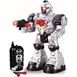 deAO RCR1 RC Robot Beast Ares with Multiple Actions Sounds Lights and Effects Includes Plastic Darts, Silver