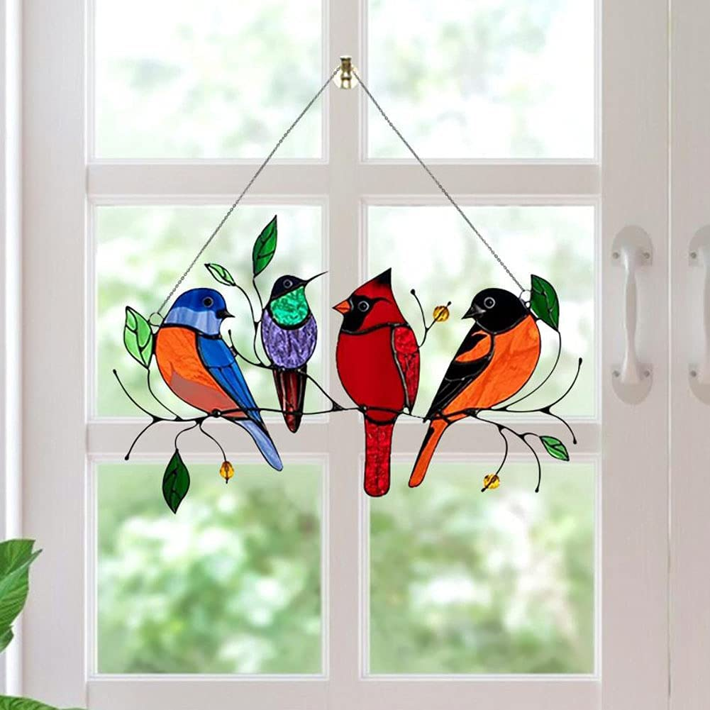 Multicolor Birds On a Wire High Stained Glass Suncatcher Window Panel, Stained Window Hangings Personality Bird Pendant for Home Window Hanging Ornament Decoration