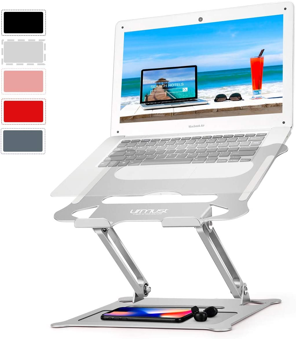 """Urmust Laptop Notebook Stand Holder, Ergonomic Adjustable Ultrabook Stand Riser Portable with Mouse Pad Compatible with MacBook Air Pro, Dell, HP, Lenovo Light Weight Aluminum Up to 15.6""""(Silver)"""
