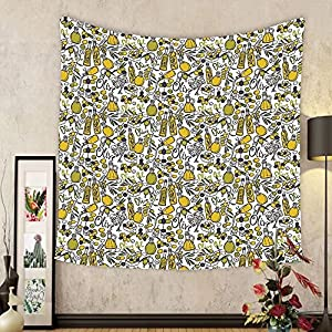 Gzhihine Custom tapestry Tapestry Olives Oil Bottles Organic Food and Plant Branches Hand Drawn Doodle for Bedroom Living Room Dorm 60WX40L Yellow Navy Blue Green