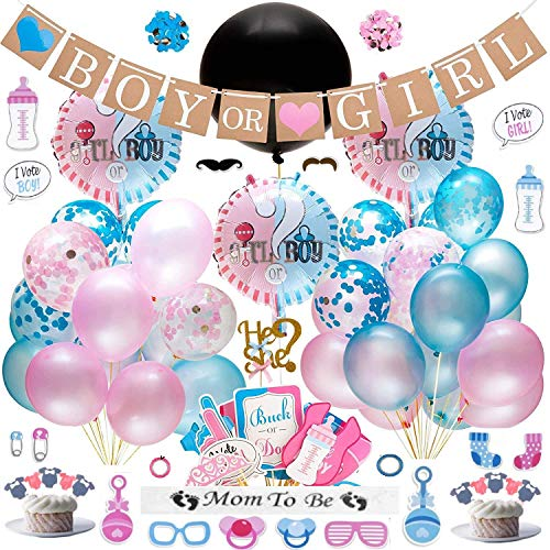 G E CREATION - Gender Reveal Party Supplies (91 Piece Kit) | Premium Quality Decorations Plus Cake & Cupcake Toppers | Keepsake Banner, Sash & Photo Props | 30 Balloons with Blue & Pink Ribbons ()