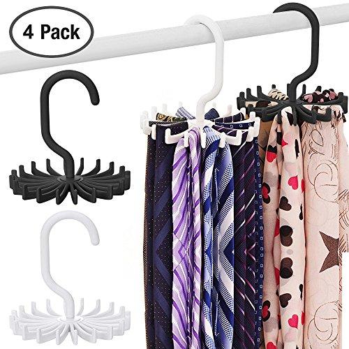 Colgador para Corbatas y Cinturones, SENHAI Paquete de 4 Antideslizante Cinturón Perchas Tie Hanger Accesorio Rack Organizer...
