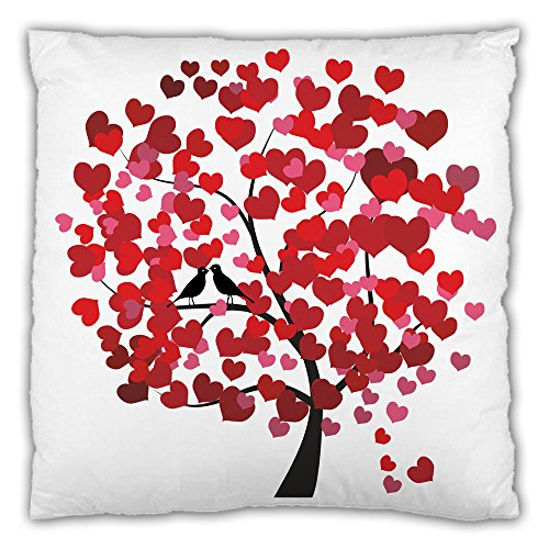 Love Heart Leaf Tree Red Printed Throw Pillowcases Cushion Cover 18*18 Inch (One side)