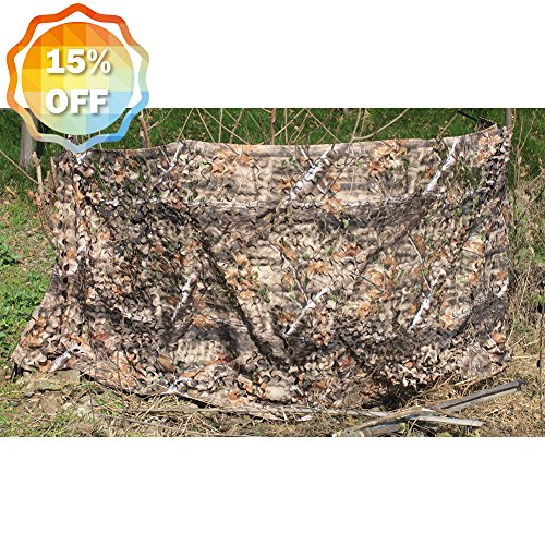 AUSCAMOTEK 300D Woodland Camo Netting Camouflage Netting for Hunting Blinds Camping Shooting Party Decoration Brown 5ft×13ft(appro.)/1.5m×4m