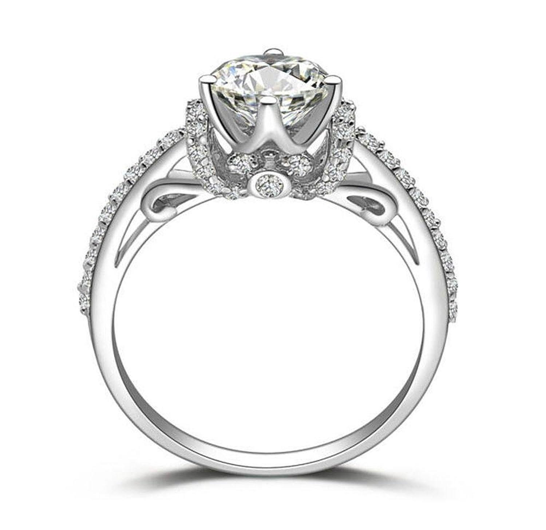 SOLID 925 SILVER TOP QUALITY 1 CARAT DESIGNER ART DECOR SIMULATED DIAMOND RING HEARTS ARROWS CUT
