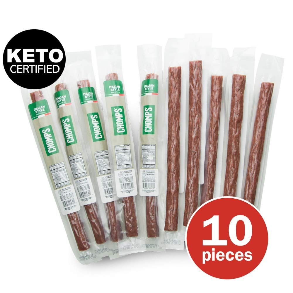 CHOMPS Grass Fed Beef Jerky Meat Snack Sticks | AIP Diet Compiant, Keto Certified, Whole30 Approved, Paleo, Low Carb, Gluten Free, Sugar Free | 100 Calorie 1.15 Oz Sticks, Italian Beef 10 Pack by Chomps