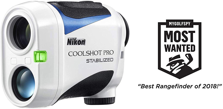Nikon Coolshot Pro Stabilized Golf Laser Rangefinder Gift Box Bundle PlayBetter Microfiber Towel, Extra CR2 Battery PlayBetter Pitchfix Divot Tool Slope, Tournament Legal