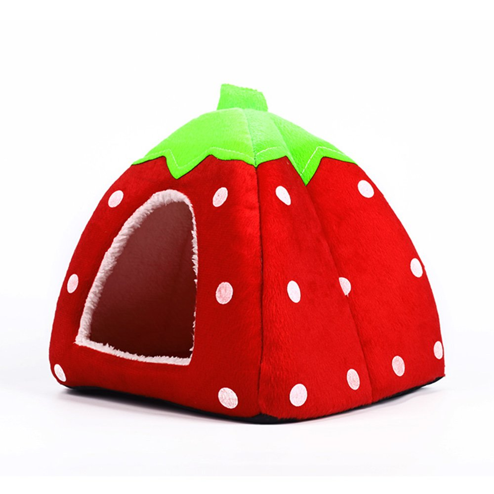 Echo Paths Strawberry Soft Tent Bed Cute Sponge Puppy Cat Cave Dog House for Pets Red XS (10.210.20.8 inch)