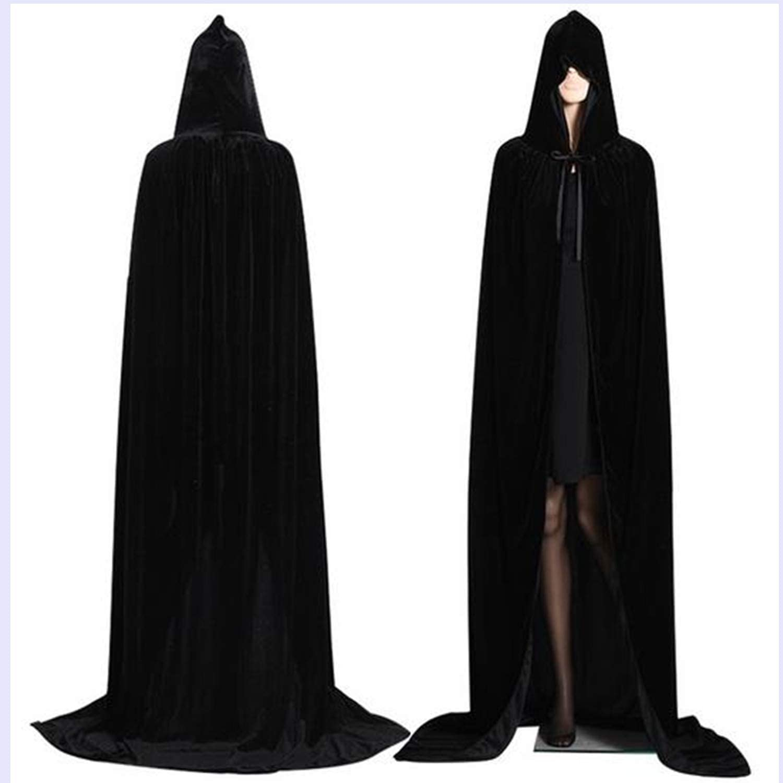 Mltao Hooded Cloak Long Velvet Cape for Halloween Christmas Cosplay Costumes Men Women Medieval Renaissance Hooded Cloak Cape 72 inch Black