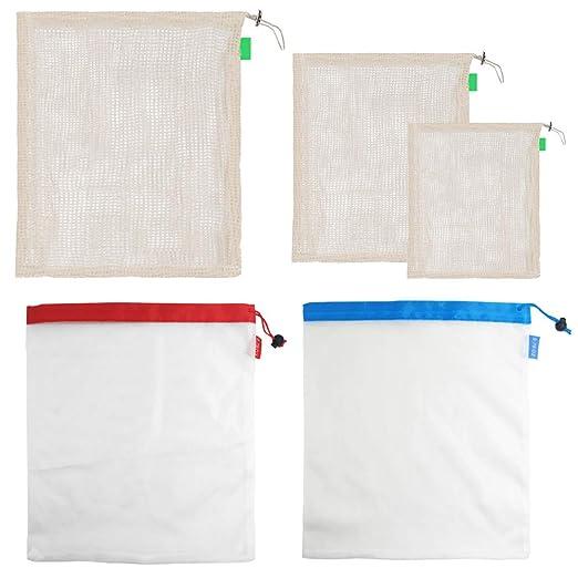 frutas y verduras Bolsas reutilizables FineGood lavables ecol/ógicas para almacenamiento de compras bolsas de malla transparente para alimentos