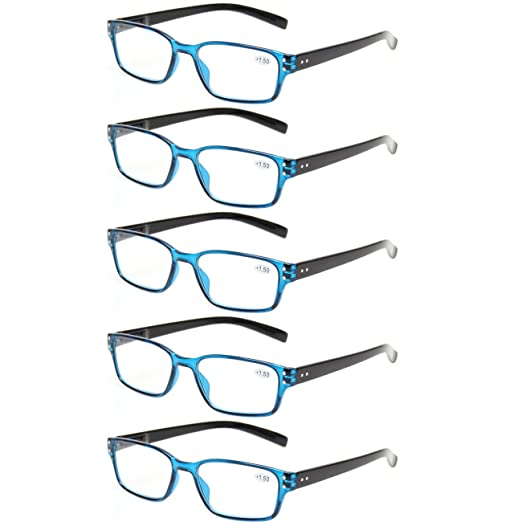 752ddb6f8406 Kerecsen 5 Pairs Readers Spring Hinged Rectangular Reading Glasses for Men  and Women (5 Pack