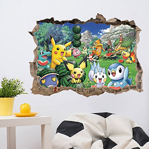 1 piece 3D Broken Wall Decor Pikachu Wall Stickers for Kids Rooms Home Decor DIY Cartoon Movie Poster Mural Wallpaper Wall Decals
