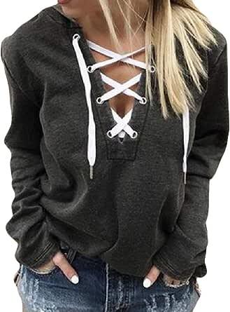 Women's Casual Hoodie V Neck Drawstring Crop Top Long Sleeve Pullover Sweatshirt