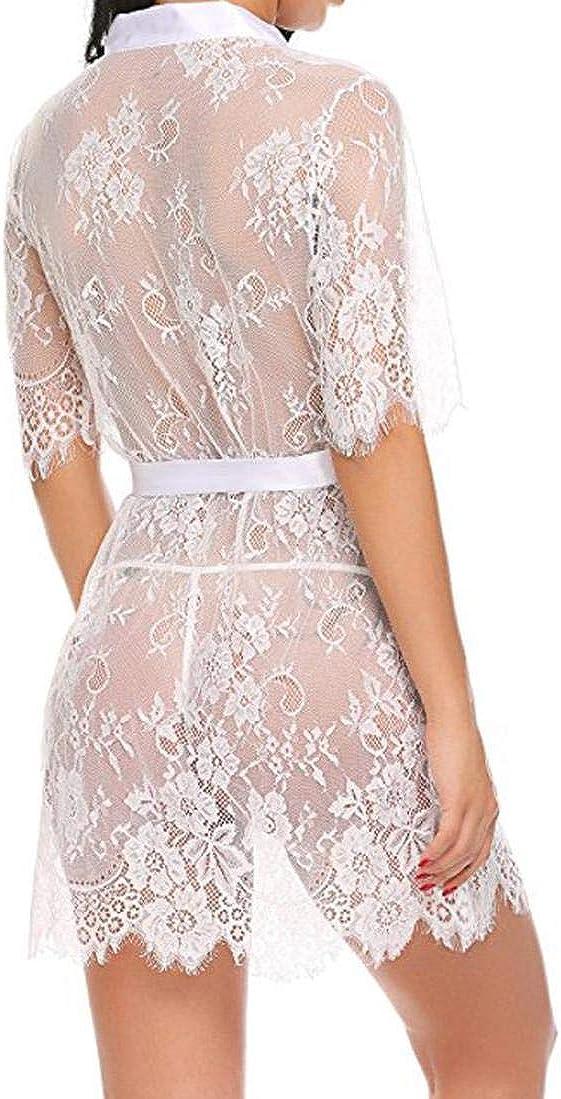 ALISIAM Lingerie Femme Kimono Ro Be Dentelle Ba Bydoll Sheer Nightwear Noir Blanc S M L XL