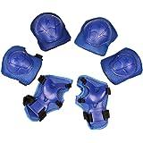 TOOGOO(R) Children Skating Knee Elbow Wrist Protective Guard Pad Set Solid Blue