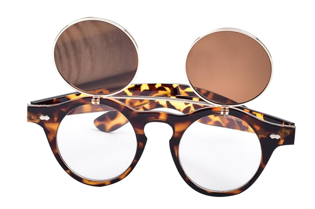JYR Unisex Retro Flip Up Round Double Layers Steampunk Goth Goggles Sunglasses - Leopard 7bypM