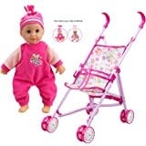 WonderPlay Doll Stroller with Baby Doll Foldable Umbrella Doll Strollers with Swivel Wheels Handles for Toddlers