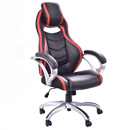 Giantex Executive Racing Gaming Office Chair PU Leather Bucket Seat Desk Chair Gaming Chair (Red&Black)