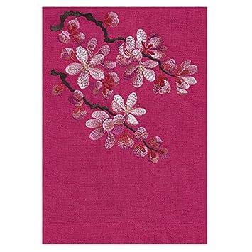 Anali bordado lino toalla de mano, diseño de flores, algodón, begonia, Guest Towel: Amazon.es: Hogar