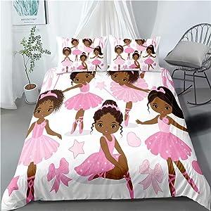 Pink African American Ballerina Bedding Set Twin for Girls Kids ,2 Piece CuteBallet Princess DancerDuvet Cover,Black Girls Comforter Cover Set Including(1Duvet Cover+1 Pillowcase )