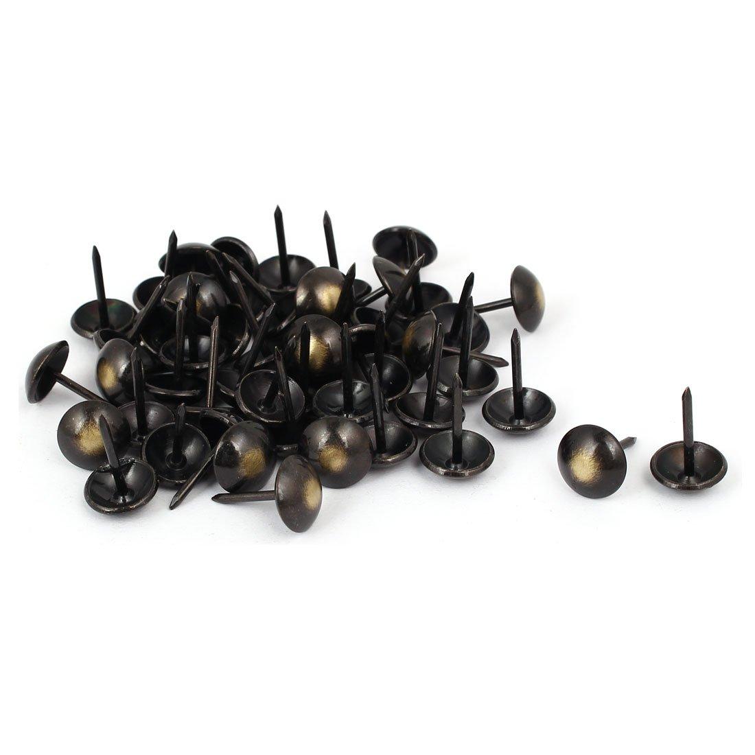 sourcingmap® Tête de 7/16' de diamètre 17mm Hauteur Sellerie Sellerie Punaise clou ton bronze Noir 50pcs sourcing map a16090900ux0846
