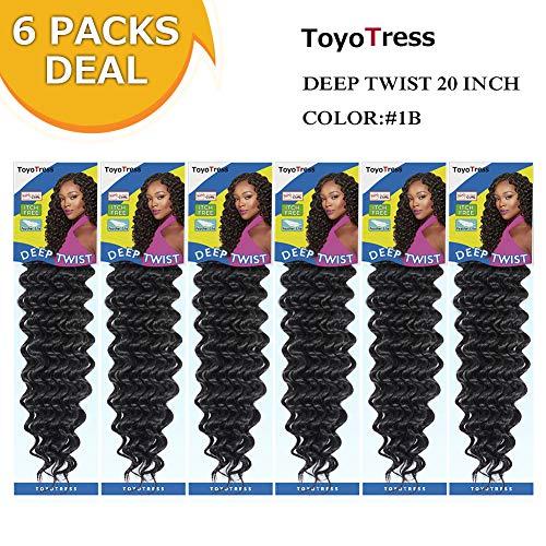 "Deep Twist Crochet Hair 20""-6packs/lot Synthetic Hair Braids Deep Wave Hair Extensions #1B"