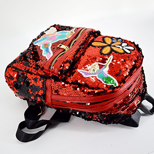 Leather Bag Backpack Purse Mini black for Shoulder Sequin Bow Cute Red and Felice Glitter Girls Women It0waqtx