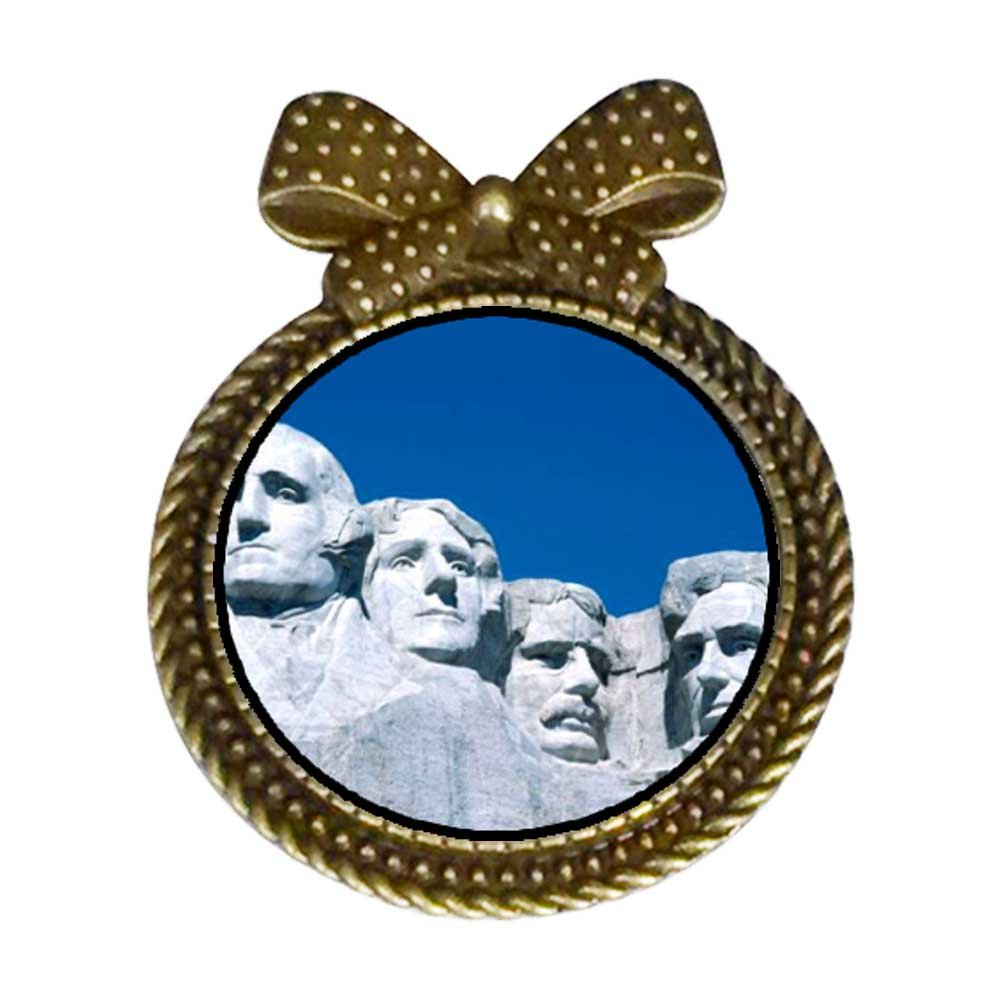 GiftJewelryShop Ancient Style Travel Mount Rushmore Round With Bowknot Pin Brooch #9