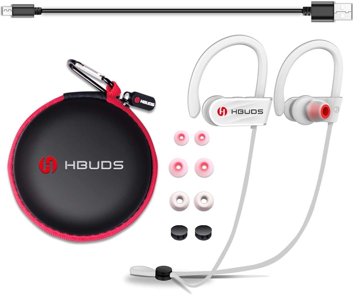 HBUDS Auriculares Inalambricos Bluetooth Deportivos 4.1 H1 con Micrófono y Cancelación de Ruido y Impermeables IPX7 para Hacer Correr Running Compatible con iPhone Sony Huawei Samsung