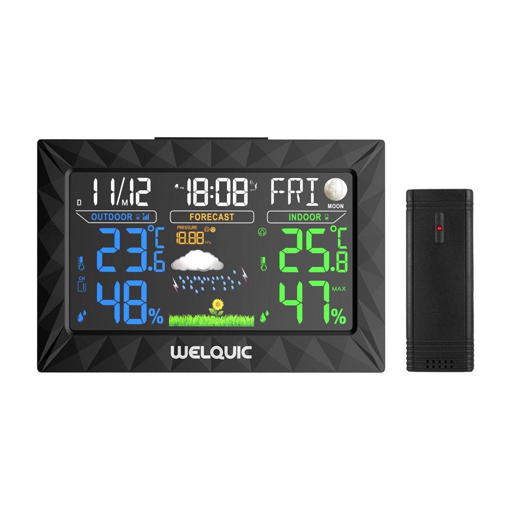 Welquic grande schermo a colori barometro wireless temperatura interna ed esterna igrometro ts-y01nero UK