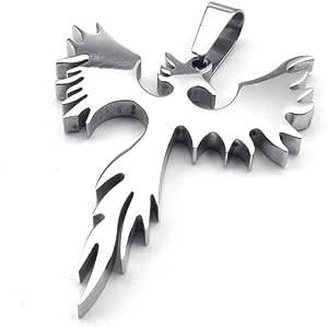 Jonline24h Stainless Steel Phoenix Bird Firebird Pendant Biker Mens Necklace, 18-26 inch Chain Gift