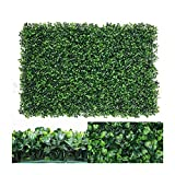 Nisorpa 12 Pack Artificial Plants Wall Boxwood Hedge Mat Privacy Fence Screen Faux Greenery Wall Panels Decorative Suitable for Outdoor Indoor Garden Patio Backyard 23.62'x15.75'x1.57' UV Protection