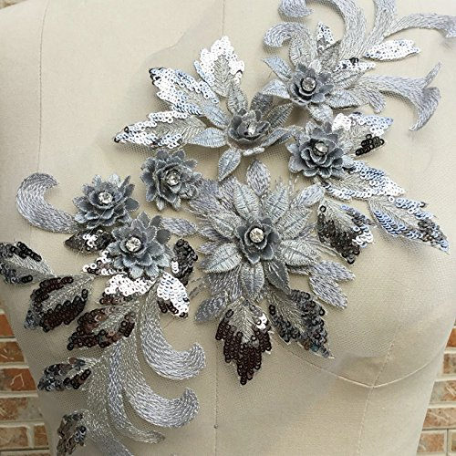 High-end 3D Flower Applique,Beaded,Sequined,Floral Patches Wedding Lace Appliques Motif Sew on Dress Polychromatic Option Golden/Pink/Red/gray/Violet/green Color