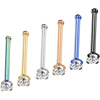 Dolity 6Pcs Jewelry Crystal Straight Crystal Pin Studs Ear Helix Piercing 1.5-3mm