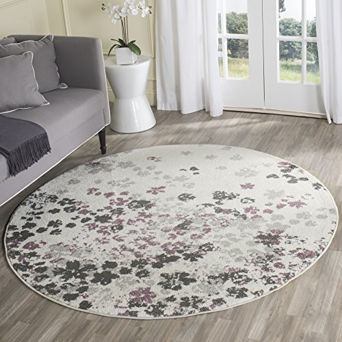 Safavieh Adirondack Collection ADR115L Ivory and Purple Contemporary Floral Round Area Rug (4' in Diameter) (Round Rug Flower)