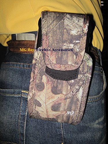 Nite Ize Camouflage Camo Mossy Oak Extra Tall Cargo Vertical / Horizontal Heavy Duty Rugged Holster Pouch / Cover Case extremely durable W/Swivel 360 Rotating Belt Clip Fits Stylo 2 Plus /MS550 (MetroPCS/ T-Mobile) Cellphone