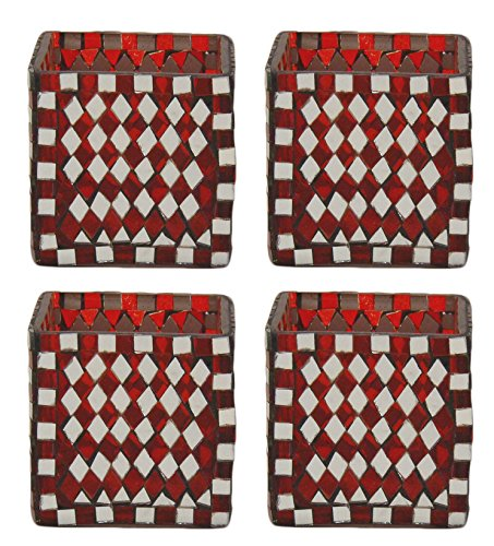 - Home Decoration Accessories Glass Votive Holders Mosaic Mirror and Red Glass Diamond Shaped Tiles Cube Shape Set of 4