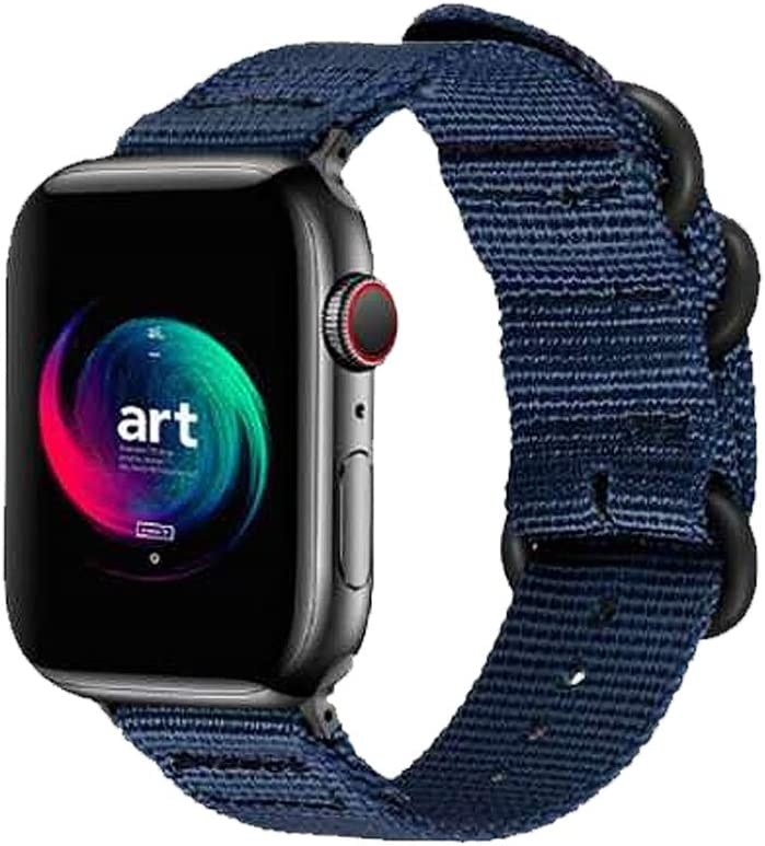 Sport Bands Compatible for Apple Watch Band 38mm 40mm 42mm 44mm, Nylon iWatch Bands Replacement Military Style Strap, Loop Buckle Series 6 & SE Series 5 4 3 2 1 Sport for Nike Edition - 4244S/Blue