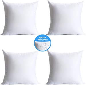 Calibrate Timing 18 x 18 Pillow Inserts Outdoor, Water Resistant HypoallergenicSquare Decorative Throw Pillow Cushion Stuffer Forms Couch Sham- 18 x 18 inches Pack of 4