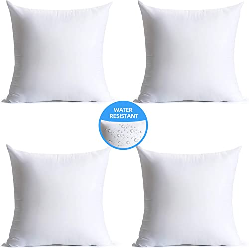 Calibrate Timing 18 x 18 Pillow Inserts Outdoor, Water Resistant Hypoallergenic Square Decorative Throw Pillow Cushion Stuffer Forms Couch Sham – 18 x 18 inches Pack of 4