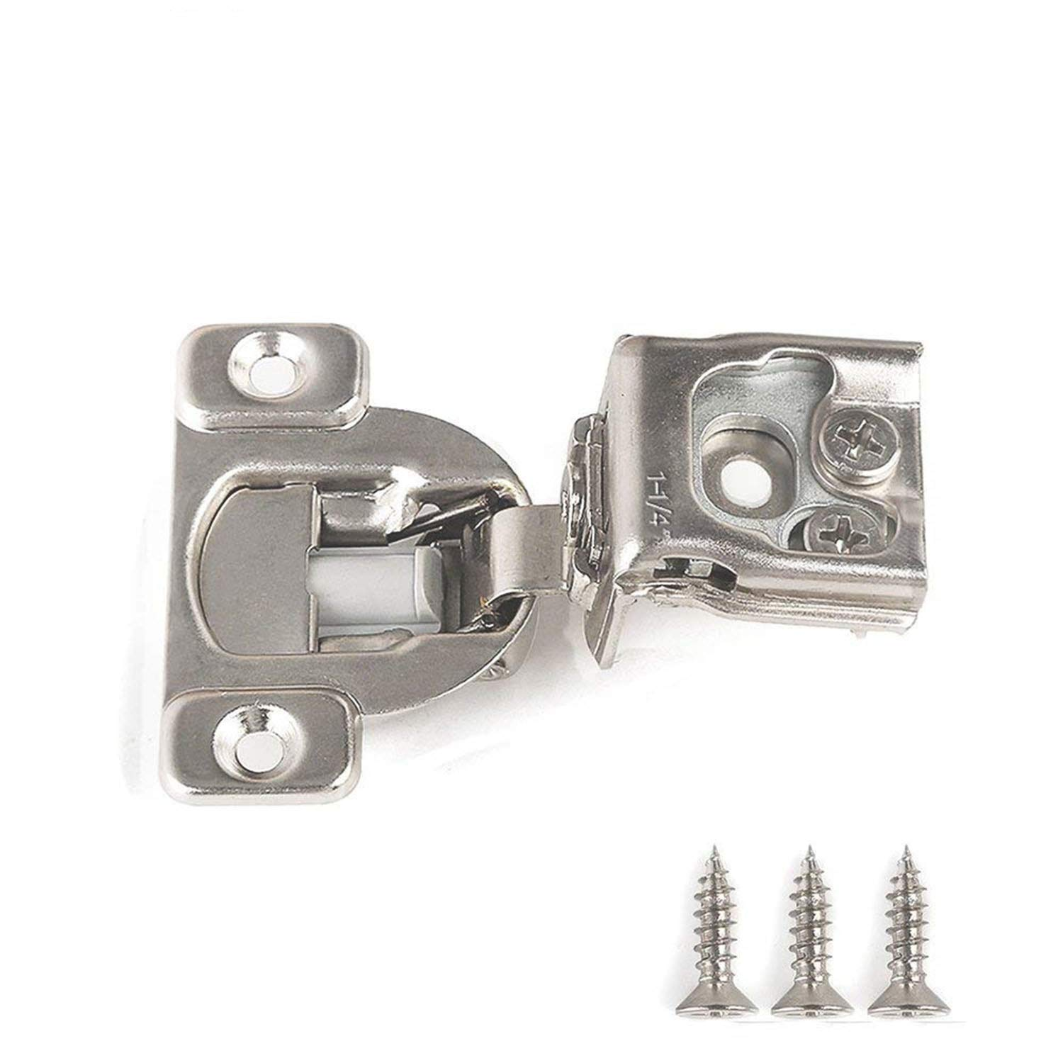 Soft Close Hinge 1-1/4'' Compact Overlay Hinges for Frameless Face Frame Cabinet Nickel Plated - 25 Pack (25, 1-1/4'')