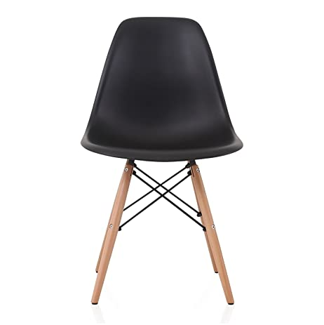DSW Slope Black Molded Plastic Dining Side Chair With Beech Wood Eiffel Legs