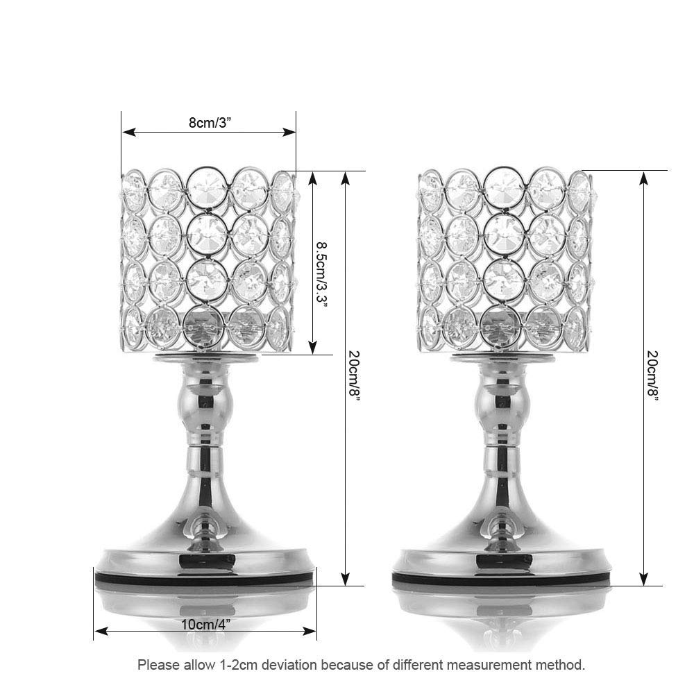 VINCIGANT Silver Long Stem Crystal Candlesticks Holder Set of 2 for Table Centerpieces//Modern Gift for Anniversary Celebration,10 Inches Tall Identical International Co Ltd V-CCCH2525S