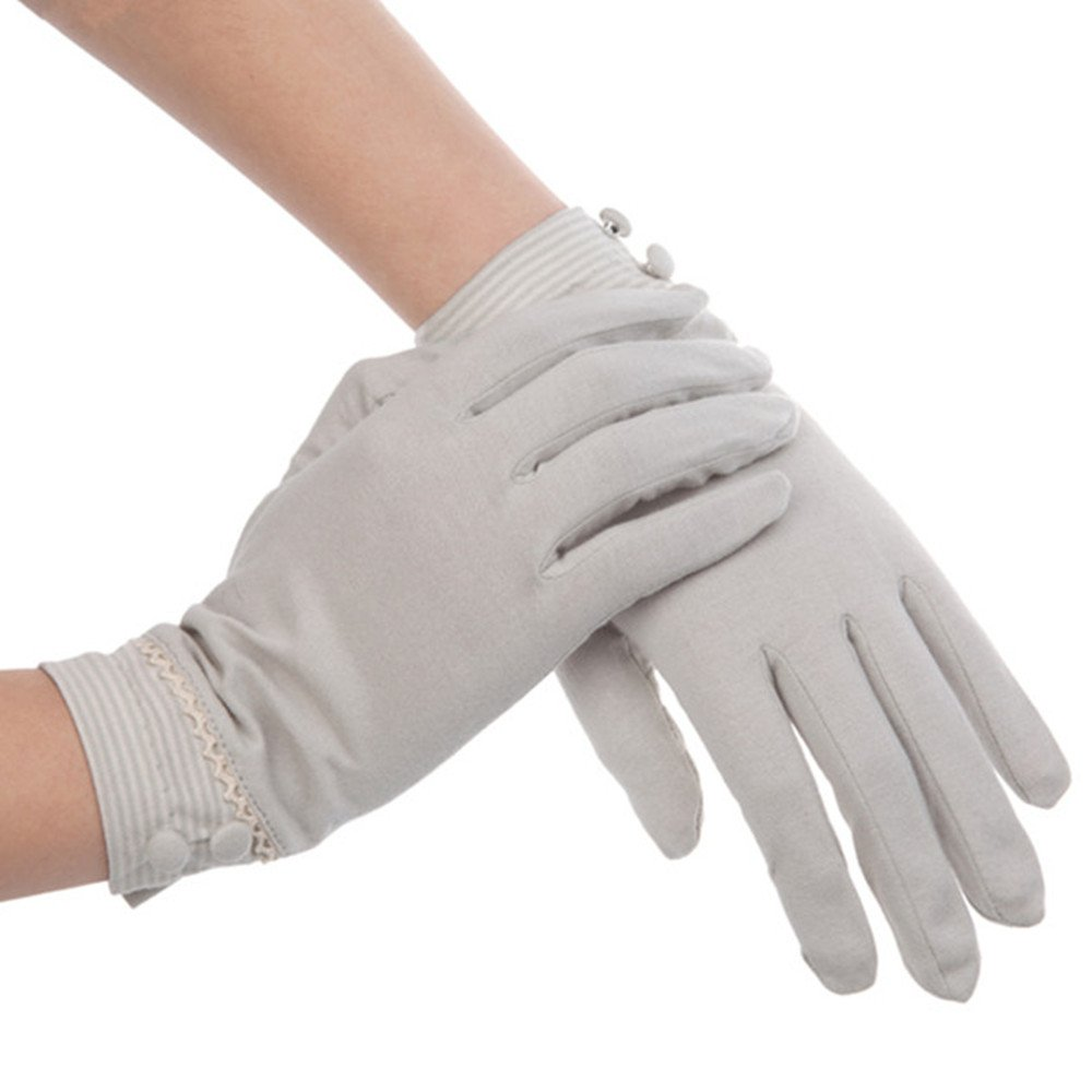 Kenmont Summer Women Sun Uv Protection Outdoor Solid Color Cotton Driving Gloves (Light Grey)