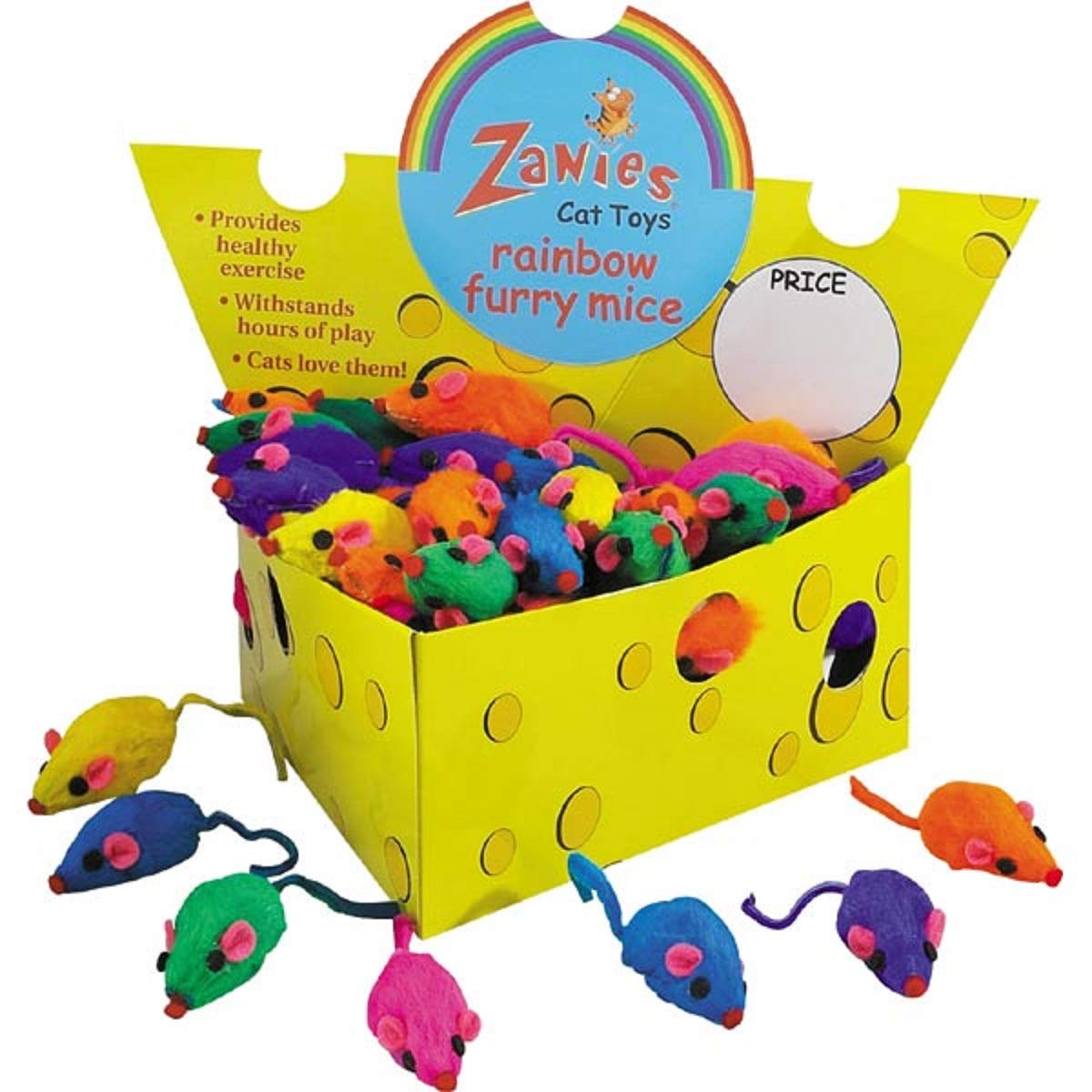 Box of 60 Zanies Real Fur Rattling Rainbow Mice in Cheese Box by Zanies