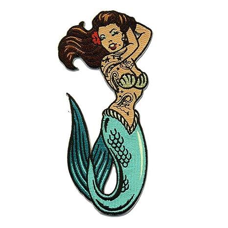 Chica Pin Up tatuaje de sirena parche bordado hierro en Applique ...