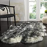 Safavieh Sheepskin Collection SHS121G Genuine Sheepskin Pelt Ivory and Dark Charcoal Premium Shag Rug (3'7' x 5'11')